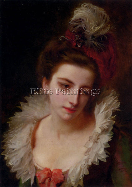 GUSTAVE JEAN JACQUET PORTRAIT OF A LADY WITH A FEATHERED HAT ARTIST PAINTING OIL