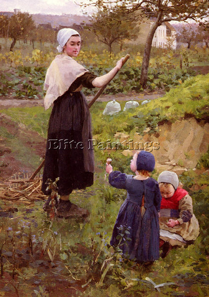 BRITISH JAMESON MIDDLETON A MOTHER WITH HER DAUGHTERS IN KITCHEN GARDEN PAINTING