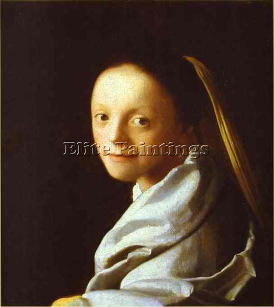 JAN VERMEER HEAD OF A GIRL ARTIST PAINTING REPRODUCTION HANDMADE OIL CANVAS DECO