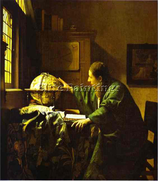 JAN VERMEER THE ASTRONOMER ARTIST PAINTING REPRODUCTION HANDMADE OIL CANVAS DECO