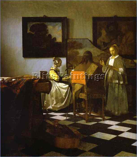 JAN VERMEER THE CONCERT ARTIST PAINTING REPRODUCTION HANDMADE CANVAS REPRO WALL