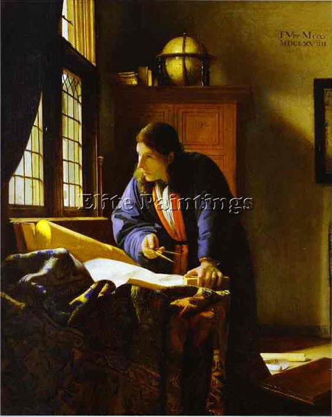 JAN VERMEER THE GEOGRAPHER ARTIST PAINTING REPRODUCTION HANDMADE OIL CANVAS DECO