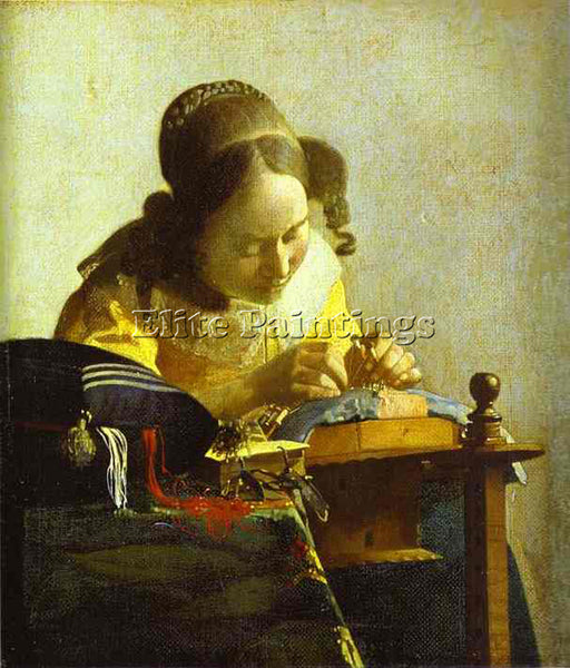 JAN VERMEER THE LACEMAKER ARTIST PAINTING REPRODUCTION HANDMADE OIL CANVAS REPRO