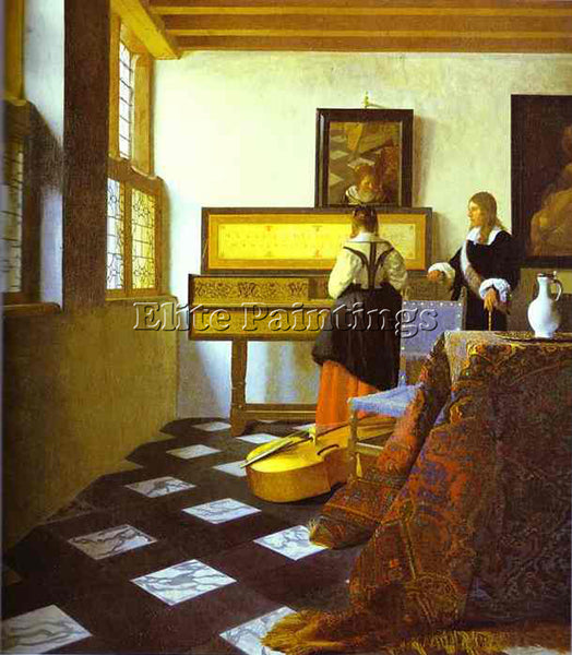 JAN VERMEER THE MUSIC LESSON ARTIST PAINTING REPRODUCTION HANDMADE CANVAS REPRO