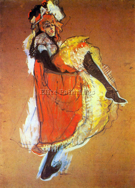 TOULOUSE-LAUTREC JANE AVRIL DANCING ARTIST PAINTING REPRODUCTION HANDMADE OIL