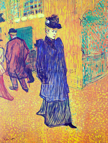 TOULOUSE-LAUTREC JANE AVRIL LEAVES THE MOULIN ROUGE 2 ARTIST PAINTING HANDMADE