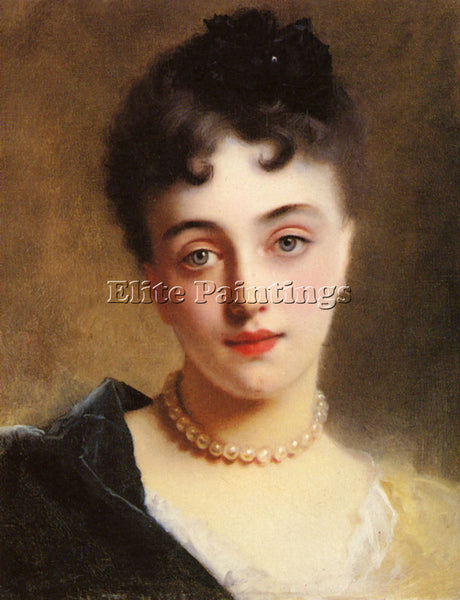 GUSTAVE JEAN JACQUET AN ELEGANT LADY WITH PEARLS ARTIST PAINTING HANDMADE CANVAS