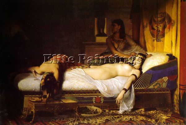 FRENCH JEAN ANDRE RIXENS THE DEATH OF CLEOPATRA 1874 ARTIST PAINTING HANDMADE