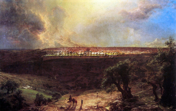 HUDSON RIVER JERUSALEM FROM MOUNT OF OLIVES BY FREDERICK EDWIN CHURCH ARTIST OIL
