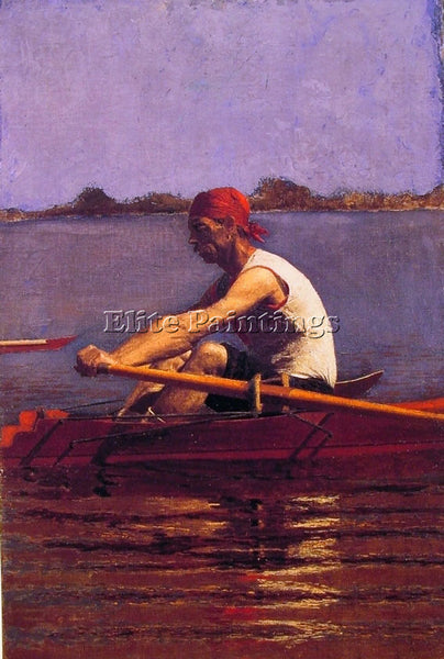 THOMAS EAKINS JOHN BIGLIN IN A SINGLE SCULL ARTIST PAINTING HANDMADE OIL CANVAS