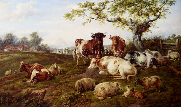 BRITISH JONES CHARLES RESTING CATTLE SHEEP AND DEER A FARM BEYOND ARTIST CANVAS