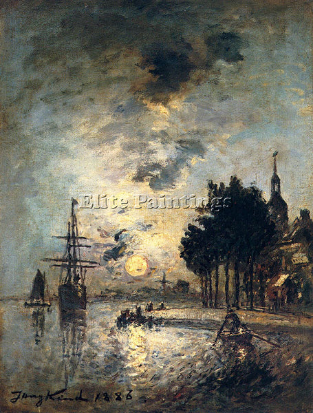 JOHAN BARTHOLD JONGKIND CLAIR DE LUNE ARTIST PAINTING REPRODUCTION HANDMADE OIL