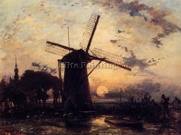 JOHAN BARTHOLD JONGKIND BOATMAN BY A WINDMILL AT SUNDOWN ARTIST PAINTING CANVAS
