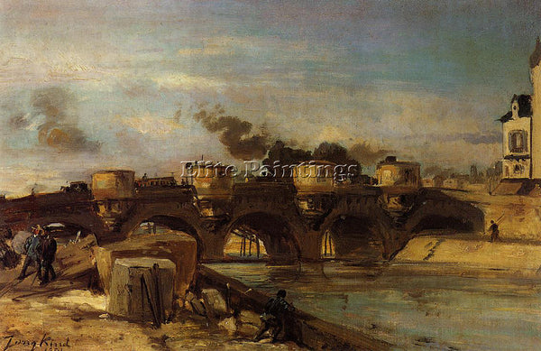 JOHAN BARTHOLD JONGKIND FIRE ON PONT NEUF ARTIST PAINTING REPRODUCTION HANDMADE