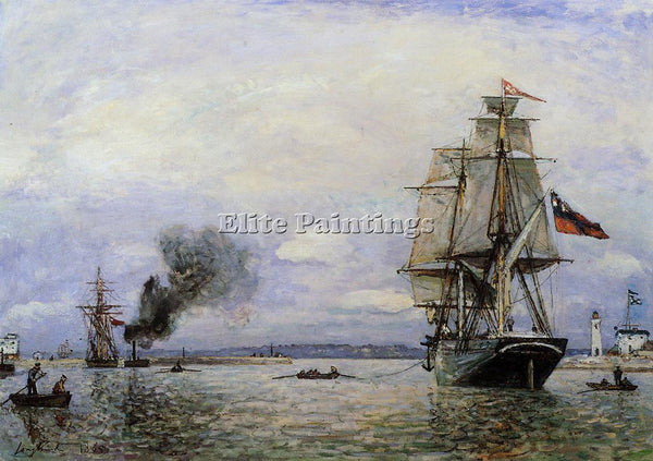JOHAN BARTHOLD JONGKIND LEAVING THE PORT OF HONFLEUR ARTIST PAINTING HANDMADE