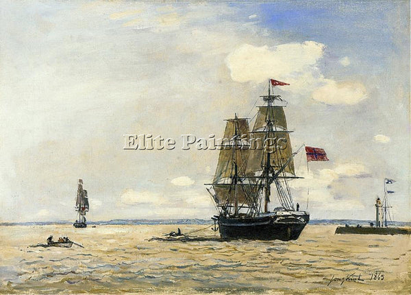JOHAN BARTHOLD JONGKIND NORWEGIAN NAVAL SHIP LEAVING PORT OF HONFLEUR ARTIST OIL