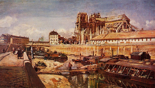 JOHAN JONGKIND NOTRE DAME DE PARIS SEEN FROM PONT DE L ARCHEVECHE ARTIST CANVAS