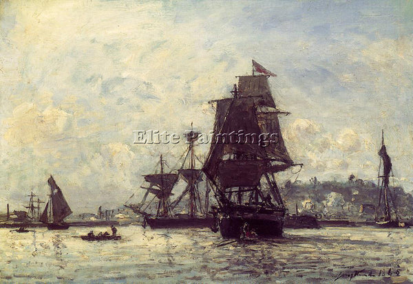 JOHAN BARTHOLD JONGKIND SAILING SHIPS AT HONFLEUR ARTIST PAINTING REPRODUCTION