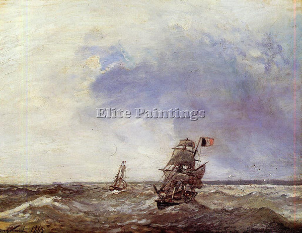 JOHAN BARTHOLD JONGKIND SHIPS AT SEA ARTIST PAINTING REPRODUCTION HANDMADE OIL