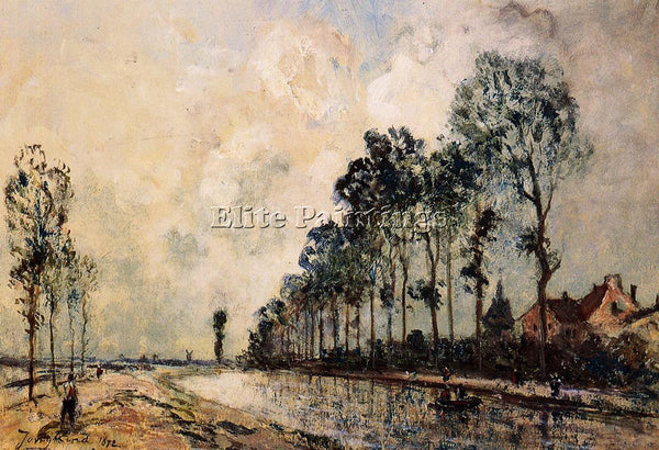JOHAN BARTHOLD JONGKIND THE OORCQ CANAL AISNE ARTIST PAINTING REPRODUCTION OIL