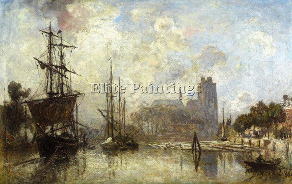 JOHAN BARTHOLD JONGKIND THE PORT OF DORDRECHT ARTIST PAINTING REPRODUCTION OIL