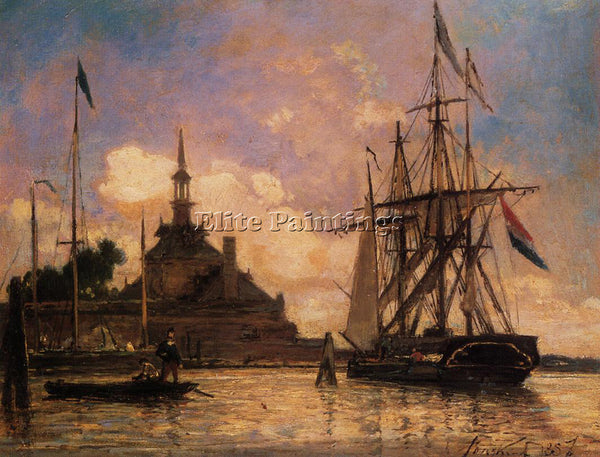 JOHAN BARTHOLD JONGKIND THE PORT OF ROTTERDAM ARTIST PAINTING REPRODUCTION OIL