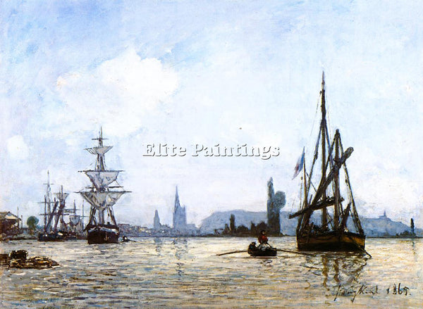 JOHAN BARTHOLD JONGKIND VIEW OF ROUEN ARTIST PAINTING REPRODUCTION HANDMADE OIL