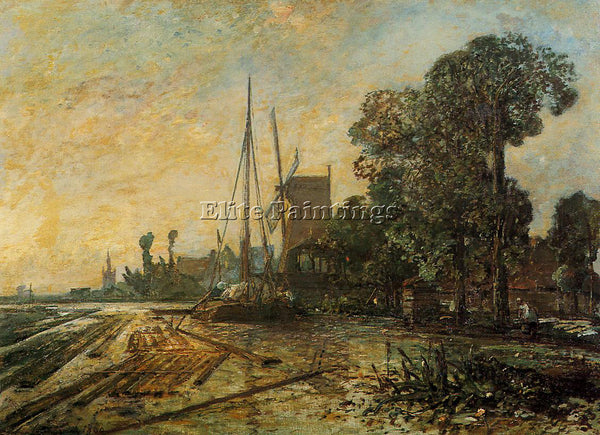 JOHAN BARTHOLD JONGKIND WINDMILL NEAR THE WATER ARTIST PAINTING REPRODUCTION OIL