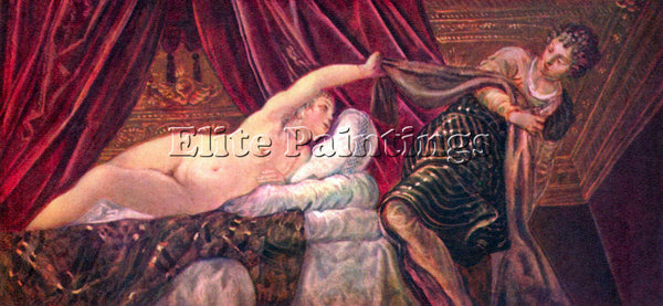 TINTORETTO JOSEPH AND THE WIFE OF POTIPHAR ARTIST PAINTING REPRODUCTION HANDMADE