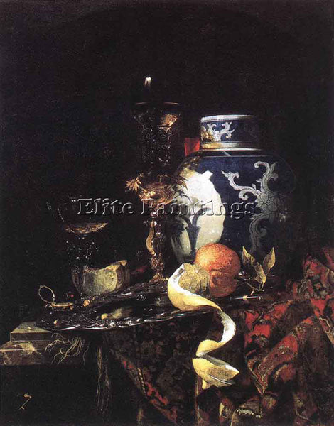 WILLEM KALF STILL LIFE WITH A LATE MING GINGER JAR ARTIST PAINTING REPRODUCTION