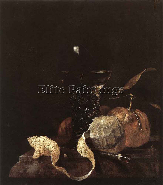 WILLEM KALF STILL LIFE WITH LEMON ORANGES AND GLASS OF WINE ARTIST PAINTING OIL