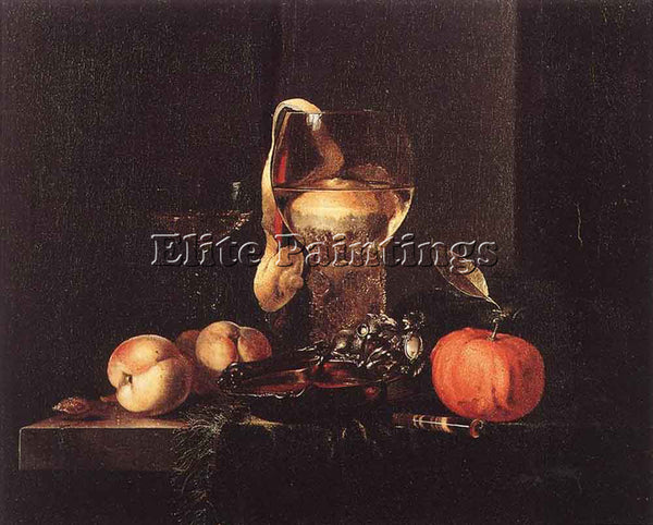 WILLEM KALF STILL LIFE WITH SILVER BOWL GLASSES AND FRUIT ARTIST PAINTING CANVAS