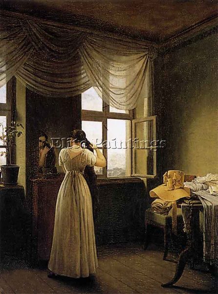 GEORG FRIEDRICH KERSTING AT THE MIRROR ARTIST PAINTING REPRODUCTION HANDMADE OIL