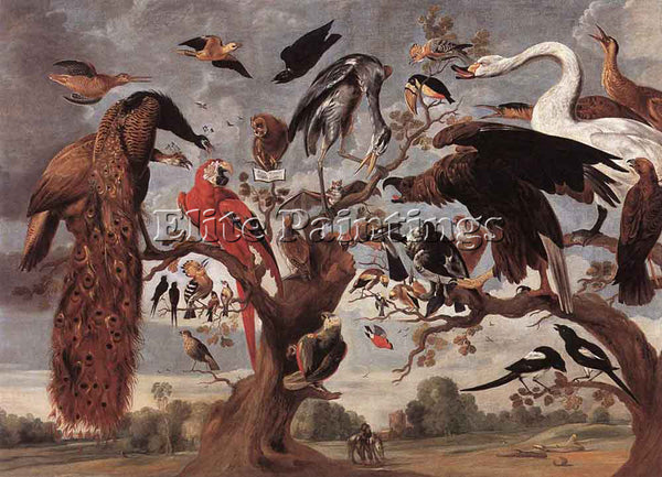 JAN VAN KESSEL THE MOCKERY OF THE OWL ARTIST PAINTING REPRODUCTION HANDMADE OIL