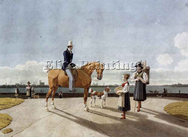 KOBELL GENTLEMAN ON HORSEBACK AND COUNTRY GIRL ON BANKS ISAR NEAR MUNICH ARTIST