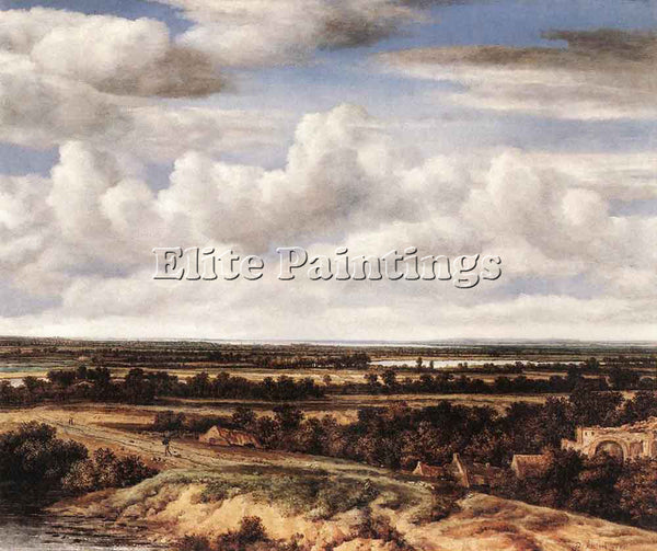 PHILIPS KONINCK AN EXTENSIVE LANDSCAPE WITH A ROAD BY A RUIN ARTIST PAINTING OIL