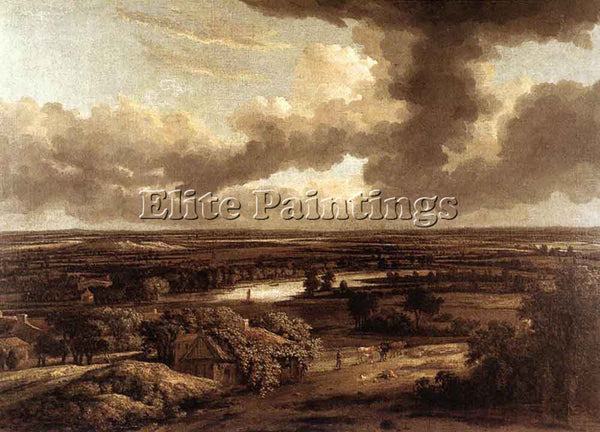 PHILIPS KONINCK DUTCH LANDSCAPE VIEWED FROM THE DUNES ARTIST PAINTING HANDMADE