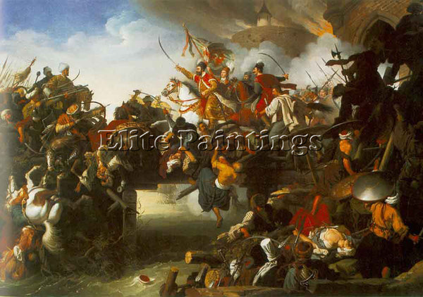 JOHANN PETER KRAFFT THE ATTACK OF ZRINYI ARTIST PAINTING REPRODUCTION HANDMADE