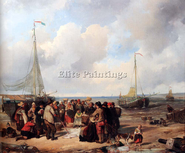 KATE HERMAN FREDERIK DE AFSCLAG VISCH AAN HET STRAND TE SCHEVENINGEN OIL CANVAS