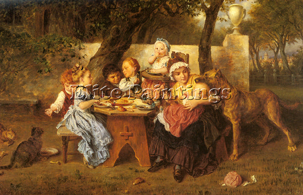 LUDWIG KNAUS THE BIRTHDAY PARTY ARTIST PAINTING REPRODUCTION HANDMADE OIL CANVAS