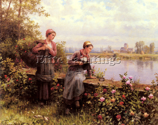DANIEL RIDGWAY KNIGHT MARIA AND MADELEINE FISHING ARTIST PAINTING REPRODUCTION