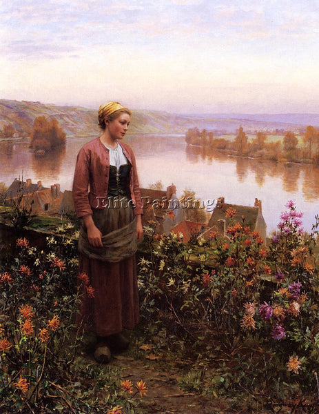 DANIEL RIDGWAY KNIGHT A GARDEN ABOVE THE SEINE ROLLEBOISE ARTIST PAINTING CANVAS