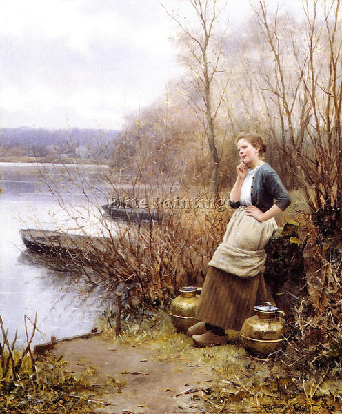 DANIEL RIDGWAY KNIGHT A LOVELY THOUGHT ARTIST PAINTING REPRODUCTION HANDMADE OIL