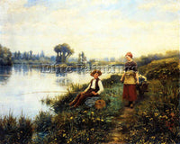 DANIEL RIDGWAY KNIGHT A PASSING CONVERSATION ARTIST PAINTING HANDMADE OIL CANVAS