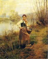 DANIEL RIDGWAY KNIGHT COUNTRY GIRL ARTIST PAINTING REPRODUCTION HANDMADE OIL ART