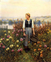DANIEL RIDGWAY KNIGHT GIRL WITH A BASKET IN A GARDEN ARTIST PAINTING HANDMADE