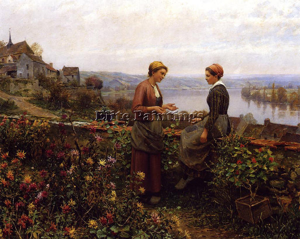 DANIEL RIDGWAY KNIGHT GOSSIPING ARTIST PAINTING REPRODUCTION HANDMADE OIL CANVAS