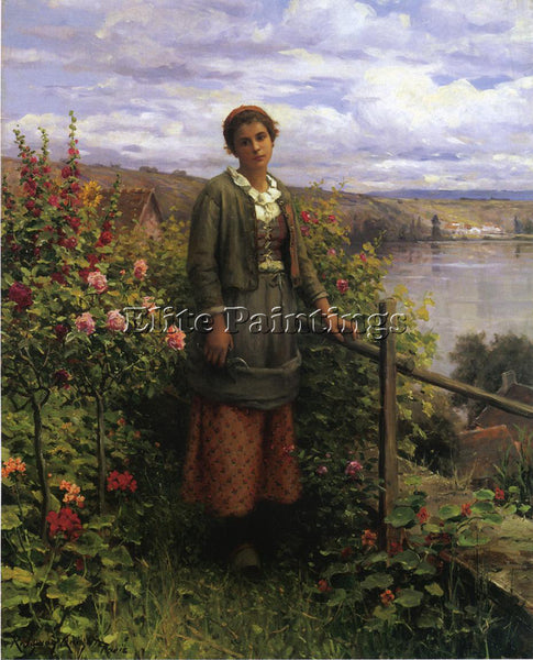 DANIEL RIDGWAY KNIGHT IN HER GARDEN ARTIST PAINTING REPRODUCTION HANDMADE OIL