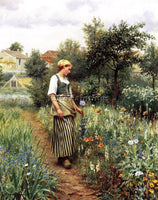 DANIEL RIDGWAY KNIGHT IN THE GARDEN ARTIST PAINTING REPRODUCTION HANDMADE OIL