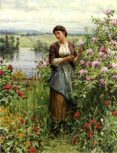 DANIEL RIDGWAY KNIGHT JULIA AMONG THE ROSES ARTIST PAINTING HANDMADE OIL CANVAS